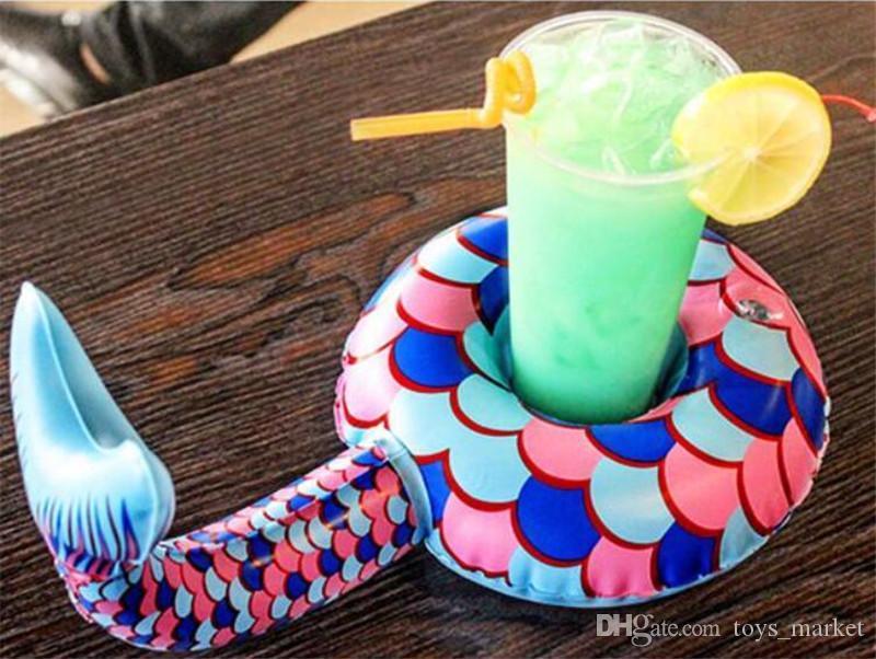 حورية البحر ذيل كوب مقعد الوردي كراب كولا كأس الإبداعية لطيف الصيف الشاطئ نفخ حامل كأس الشراب
