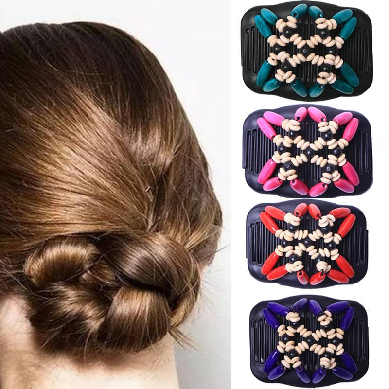 Retro Double Beaded Hair Magic Comb Clip Beads Elasticity Hairpin Hair Pins LF