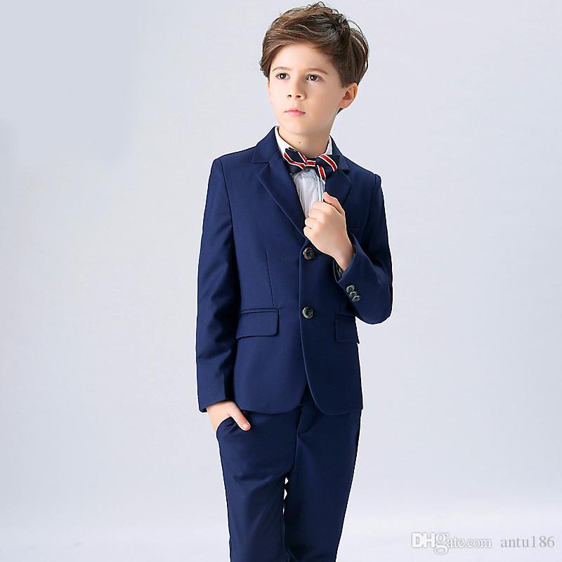 Özelleştirilmiş erkek takım elbise çocuk takım elbise üç parçalı takım elbise (ceket + pantolon + yelek) yeni çocuk parti topu resmi elbise