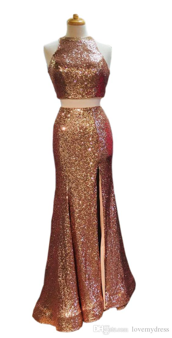 2020 Luxury Rose Gold Sequin Dresses Evening party Wear Two Piece Crystal beaded Mermaid Side Slit Long Cheap Prom pageant Formal Dress Gown