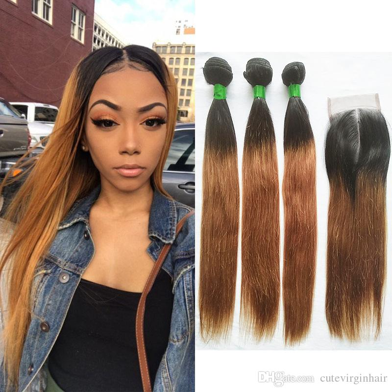 Ombre T1B/30 Straight Colored Hair Bundles with Closure Brazilian Ombre Medium Auburn Human Hair Weave 3 Bundles with 4x4 Lace Closure