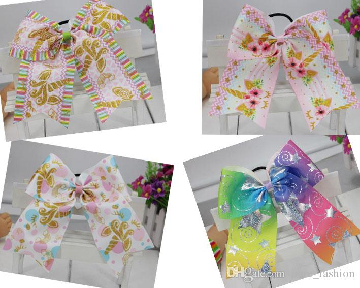 "9 STYLE 7"" Large Unicorn Hair Bows Elastic Rubber Bands Cheer Bows Hair Ties Grosgrain Ribbon Cheerleading Bow Hair Accessories 10PCS/"