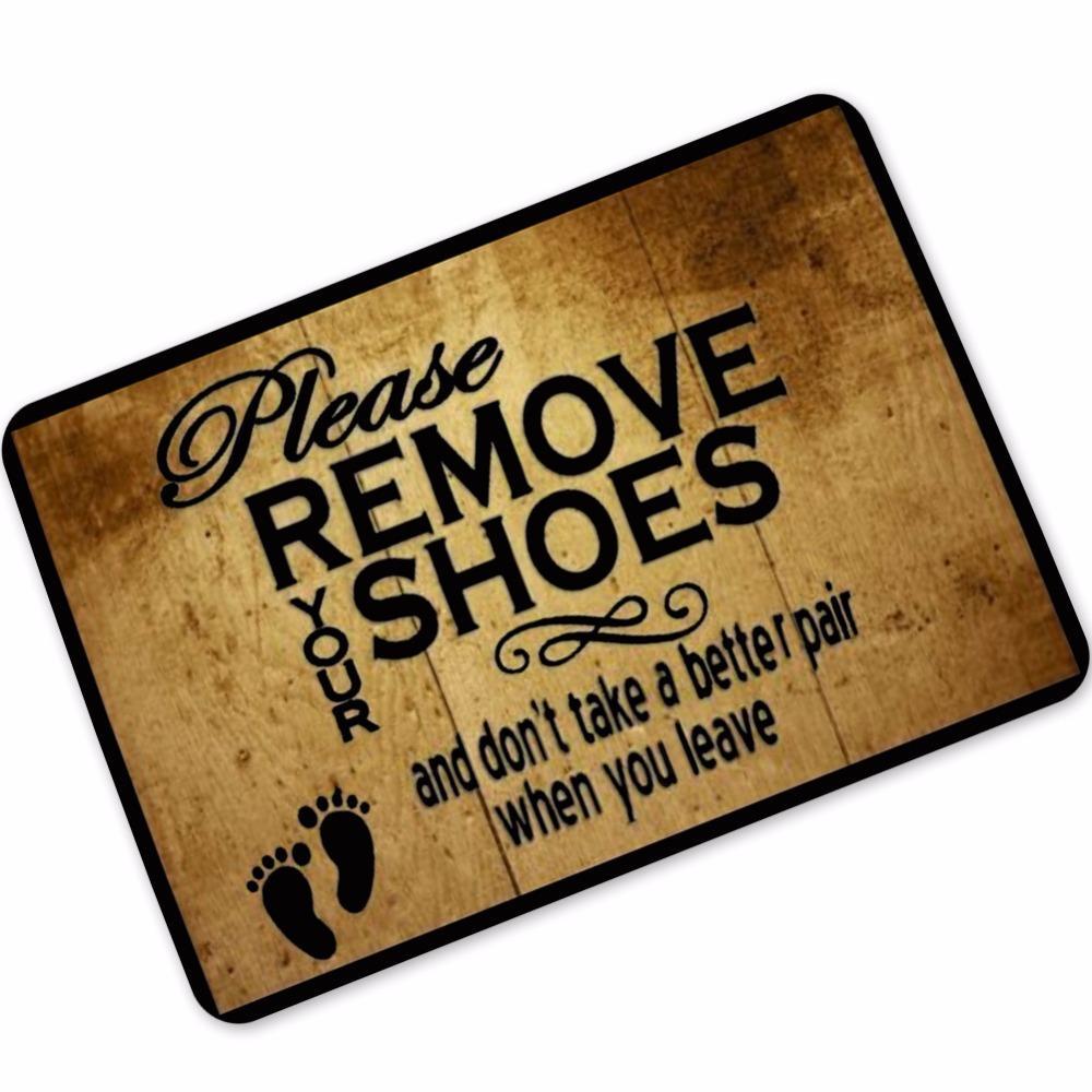libero vecchio divertente tappetini in gomma dice Si prega di rimuovere le scarpe Tappeto Tappeto antiscivolo Living Room Piano casa Ingresso anteriore Ingresso tappetino di benvenuto