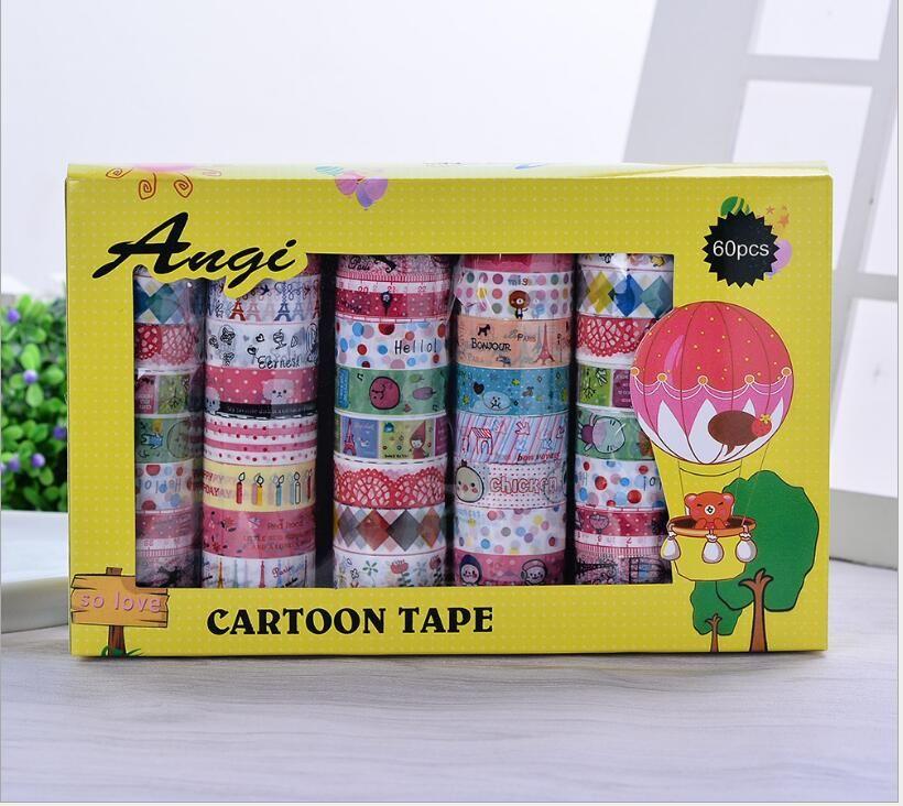 Korea 2016 60pc/set Kawaii Adhesive Tapes Cute Stickers Scrapbooking Children's Kindergarten DIY Cute Decorative Label Tapes kids Gift