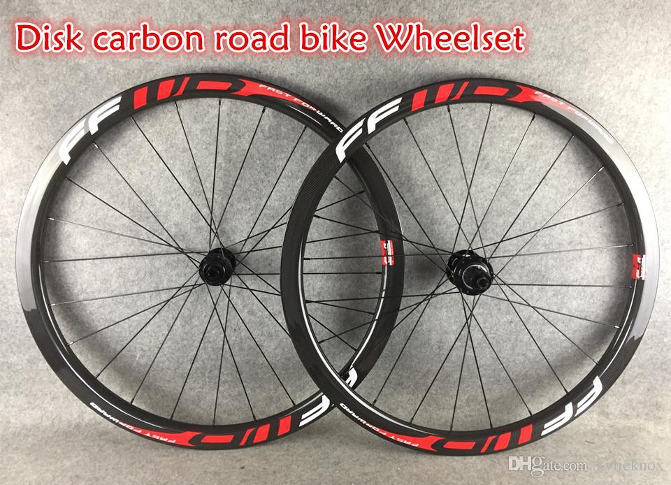 Ücretsiz kargo 700C Yol Bisiklet Disk Fren Tekerlek FFWD 38mm disk karbon jantlar ile 23mm / 25mm genişlik 3 K / UD Mat / Parlak seçim için