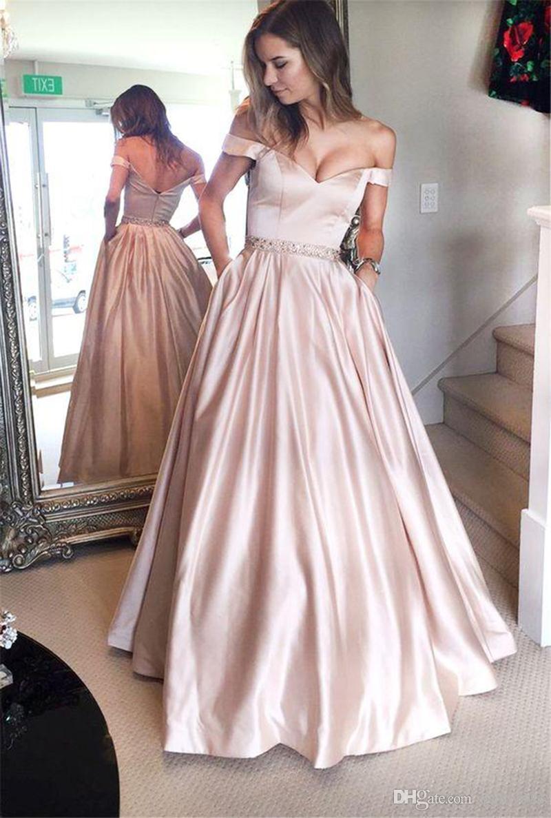 Compre Skin Pink Sexy Escote En V Vestidos De Fiesta Largos Fuera Del Hombro Hasta El Suelo Vestidos De Fiesta Por La Noche Elegantes Vestidos De