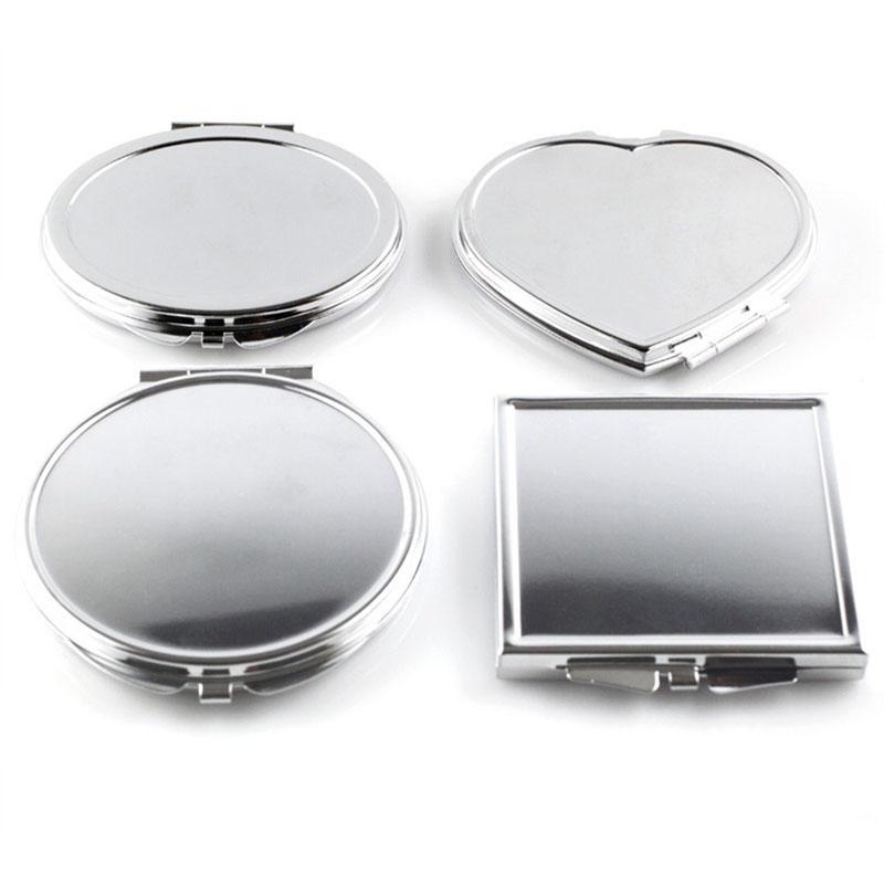 الجملة- CN-RUBR مختلف الأشكال المحمولة للطي مرآة صغيرة مدمجة الفولاذ المقاوم للصدأ ماكياج التجميل مرآة الجيب لأدوات ماكياج