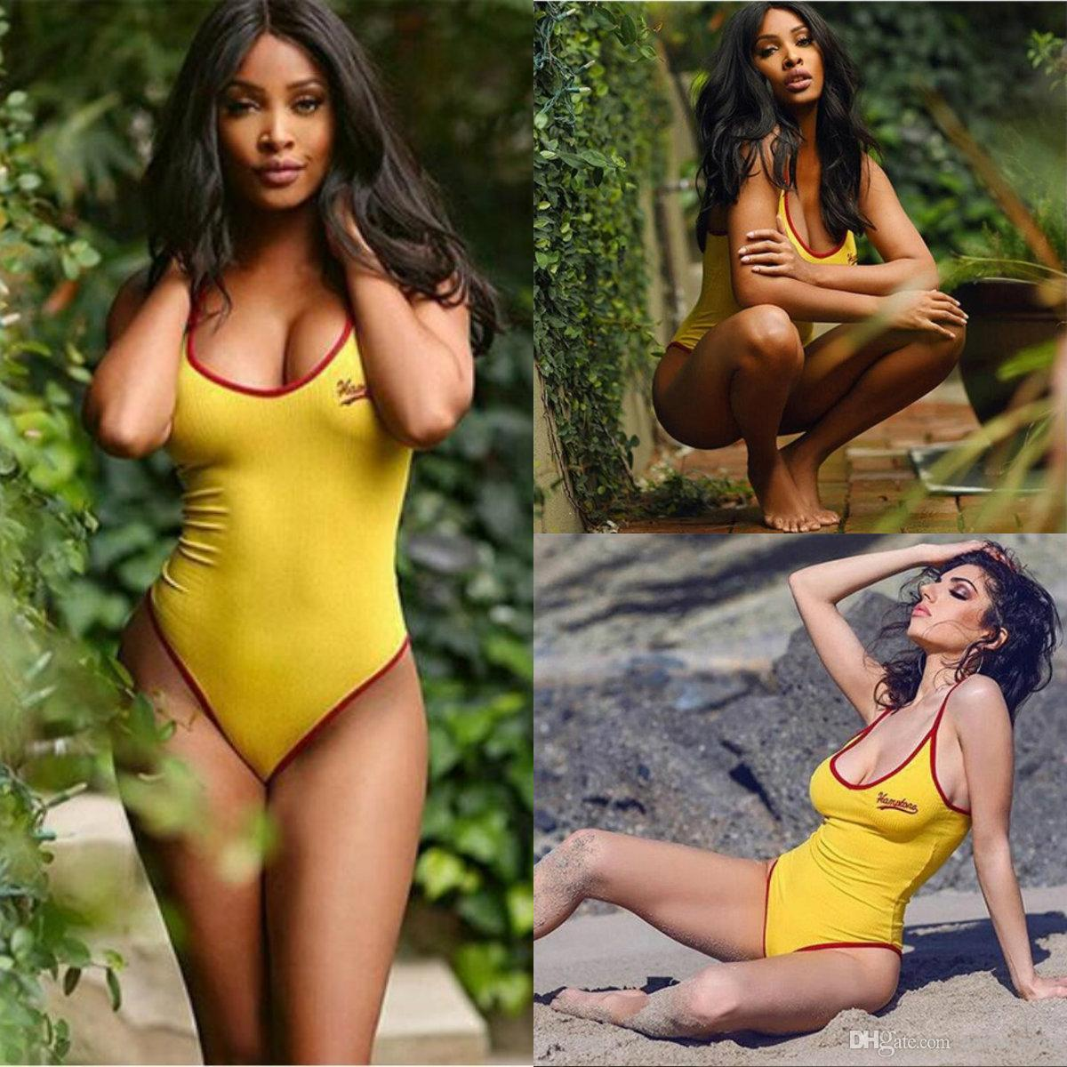 New Arrival Bikini 2018 Summer Beach Yellow Spaghetti Jumpsuit Real Image Womens Bikini Swimwear Fast Shipping In Stock