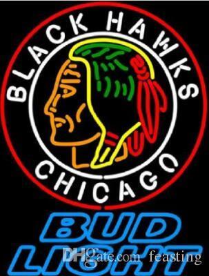 """Özel Yeni Tomurcuk Işık Chicago Blackhawks Gerçek Cam Neon Burcu işık Beer Bar Burcu fotoğraf 19x15 gerekir Göndermek """""""