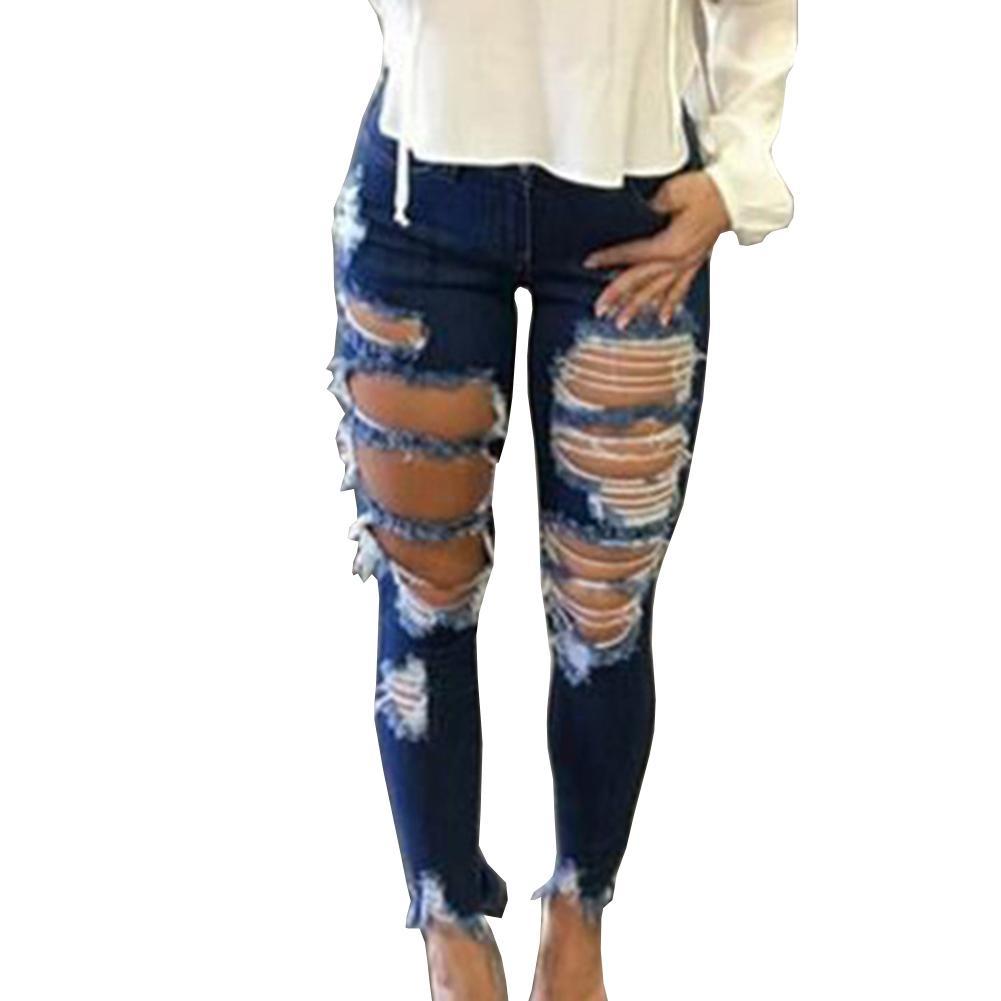 Damen Camouflage Jeans Knie Loch Gerissen Hosen Slim Fit