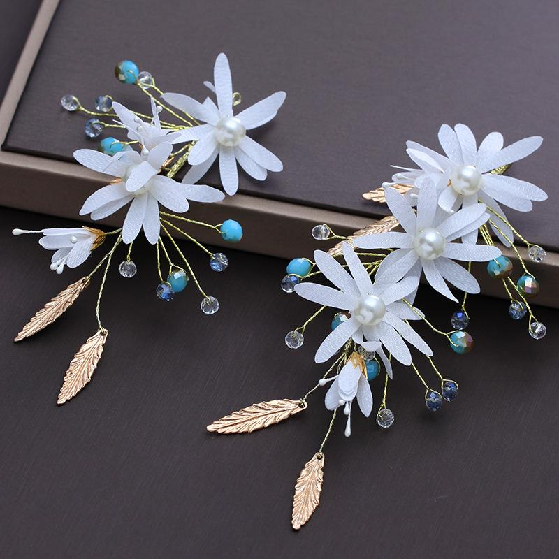 2 Pcs New Bridal Wedding Hair Clip Crystal Handmade Hairpins Golden Leaves Flowers Wedding Dress Accessories Headdress Sweet Jewelry