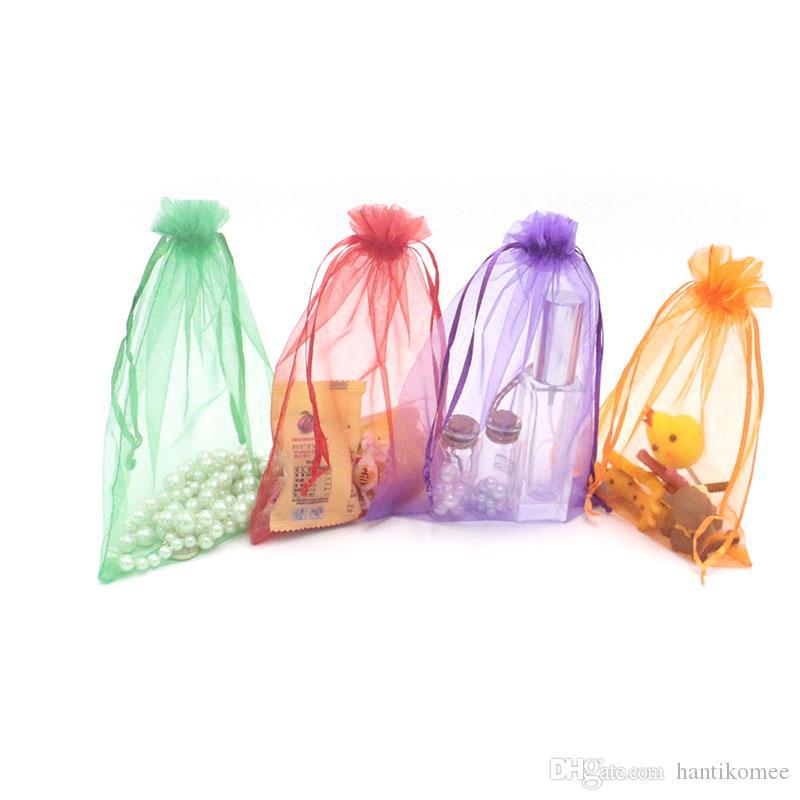 뜨거운 판매 500PCS 15x20cm 15 색 팔찌 보석 포장 Drawable Organza 가방, 선물 가방 파우치, 보석 포장 가방을 선택하려면