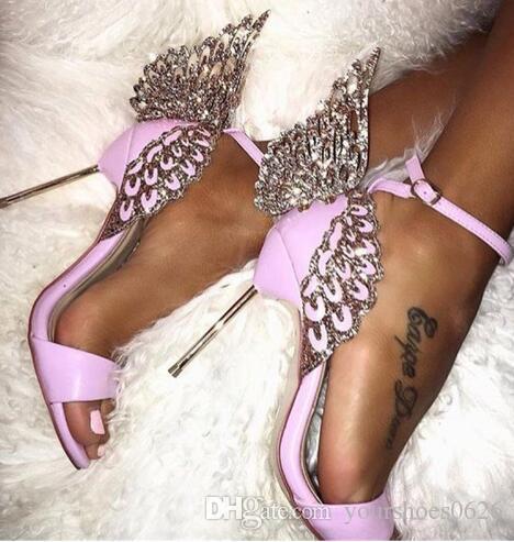 Mulheres Sandálias de Verão de Luxo Strass Borboleta Mulheres Mental High Heeld Calçado Runway Gladiador Sapatos de Festa de Casamento