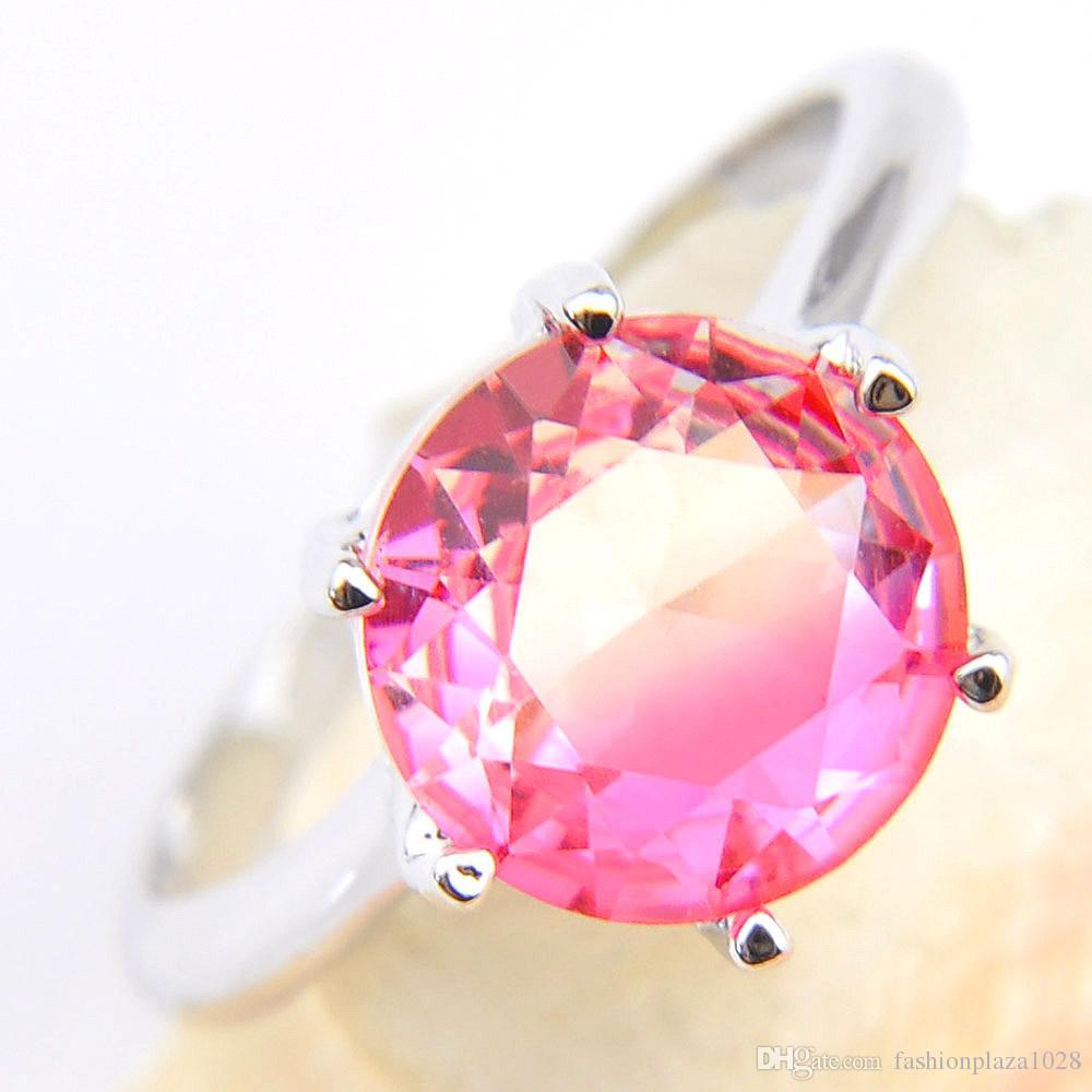 Luckysthine Moda gioielli popolari per le donne 925 anello timbro rotondo rosa tourmalina gemma 925 sterling argento placcato anelli nuziali placcati