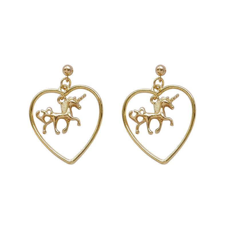 O envio gratuito de 10 par / lote moda feminina jóias acessórios de metal unicórnio coração brincos para as mulheres