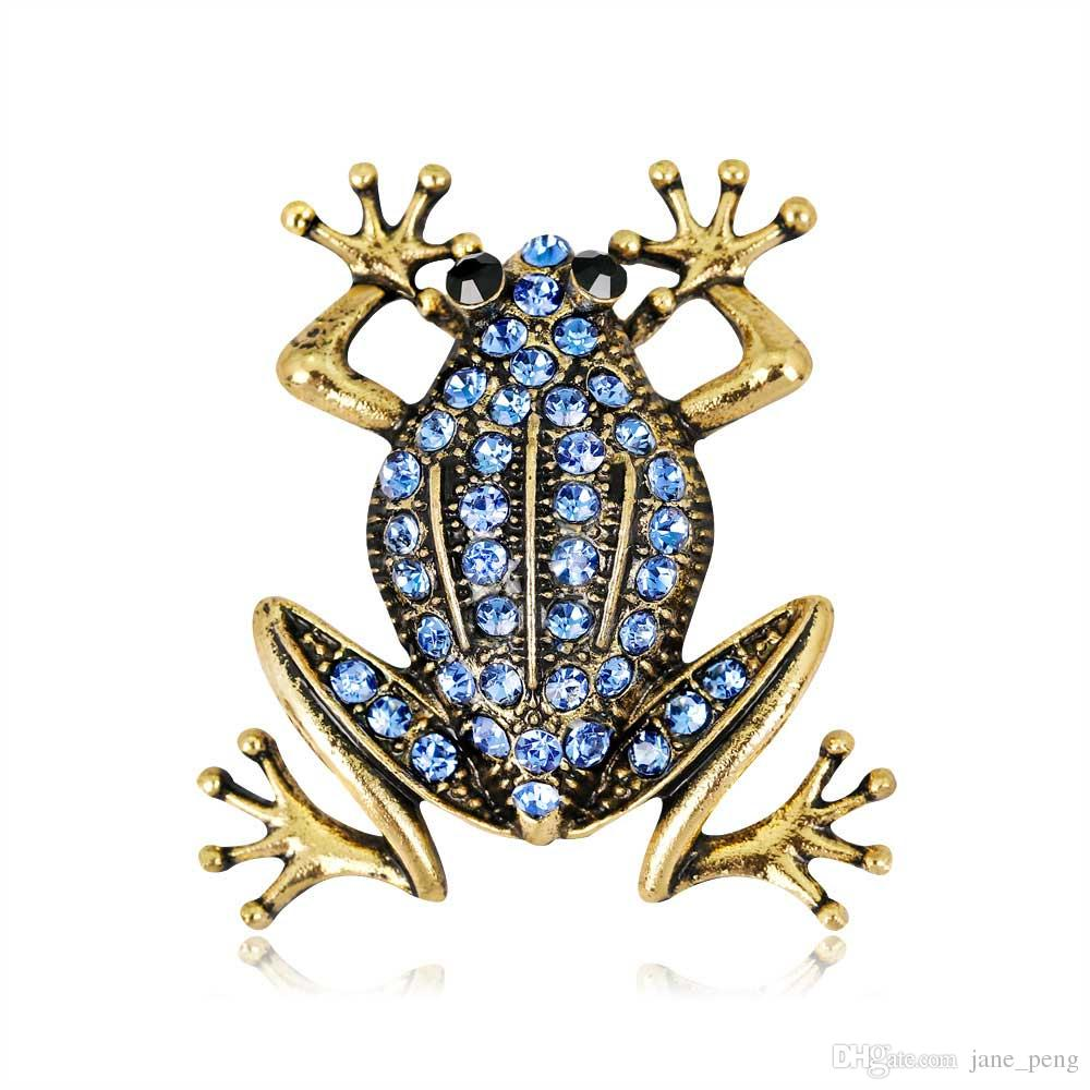 Elegant Frog Crystal Enamel Brooch Pin For Women Men Clothes Scarf Bag Vintage Buckle Broach Trendy Jewelry Beautiful Party Gift Wholesale