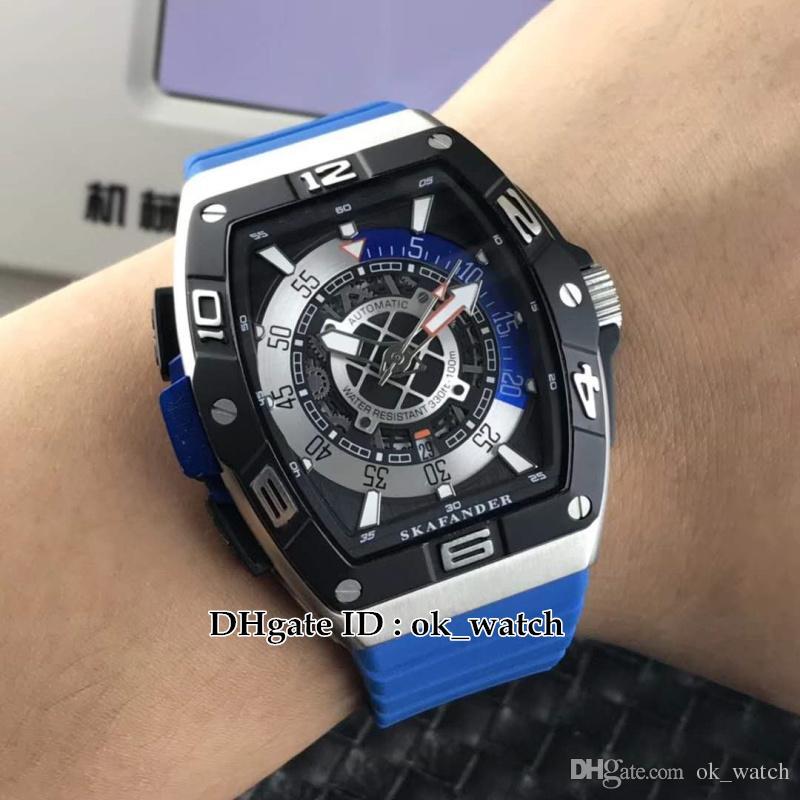 NEUF saratoge SKF 46 DV SC Miyota DT Automatique Montre Homme SKAFANDER Bleu bracelet en caoutchouc haute qualité pas cher Gents sport montres