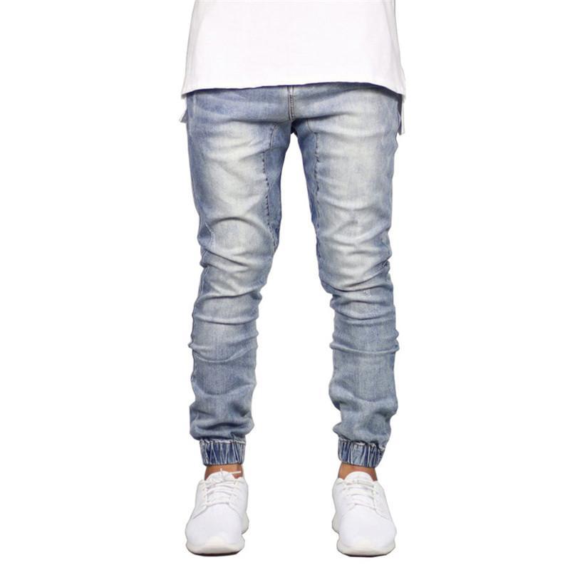 MORUANCLE Men Fashion Hip Hop Jean Joggers Streetwear Harem Denim Pants For Male Scratched Trousers Elastic Cuff Size 29-38