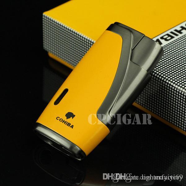 COHIBA Multifonctionnel Briquet Allume-cigare 1Tor Windable Rechargeable Gaz Butane Briquet Jet De Cigare w / Built-in Cigar Punch w / Coffret Cadeau