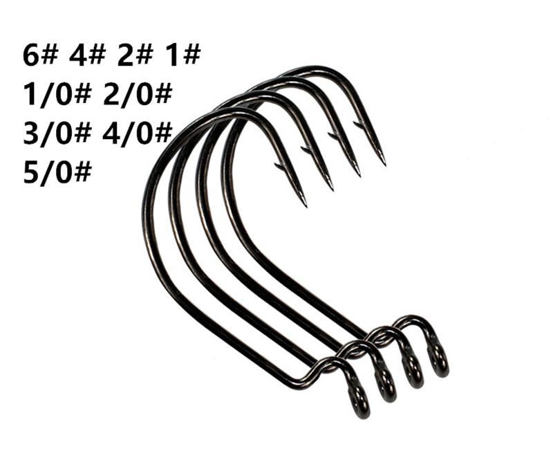 Black Nickel stainless steel Wide Gap Worm Hook Jig Fishing Crank Hook Soft Shad Barbed Fishhook 100pc/lot