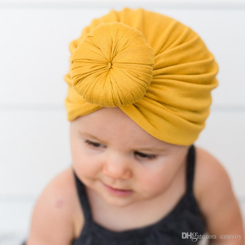 طفل قبعات قبعات مع عقدة دونات ديكور الاطفال طفل اكسسوارات للشعر العمامة رئيس يلتف بنات الأطفال الشتاء الربيع قبعة KBH126