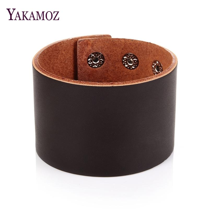 """BRAND NEW 100/% Real Deluxe Leather 2/"""" wide Stitched wristband Cuff O//S"""