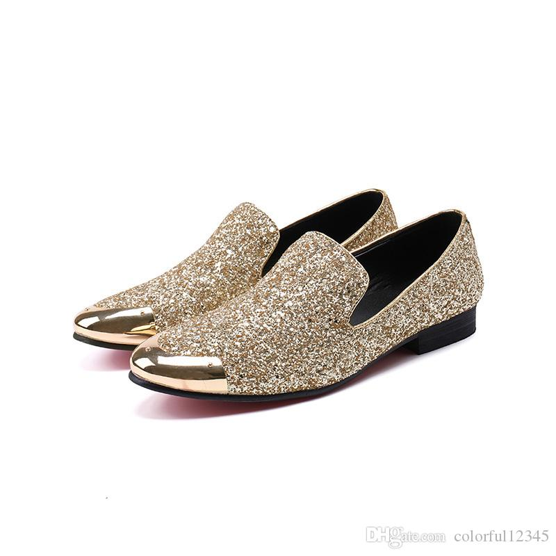 Fashion Men Shoes Gold Metal Cap Flats Dress Shoes Silver Glitter Men Leather Wedding Shoes Business and Party