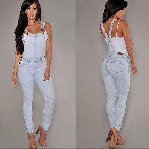 Women Sexy Slim Fit Baggy Loose Jeans Denim Overalls Pants Jumpsuit Rompers