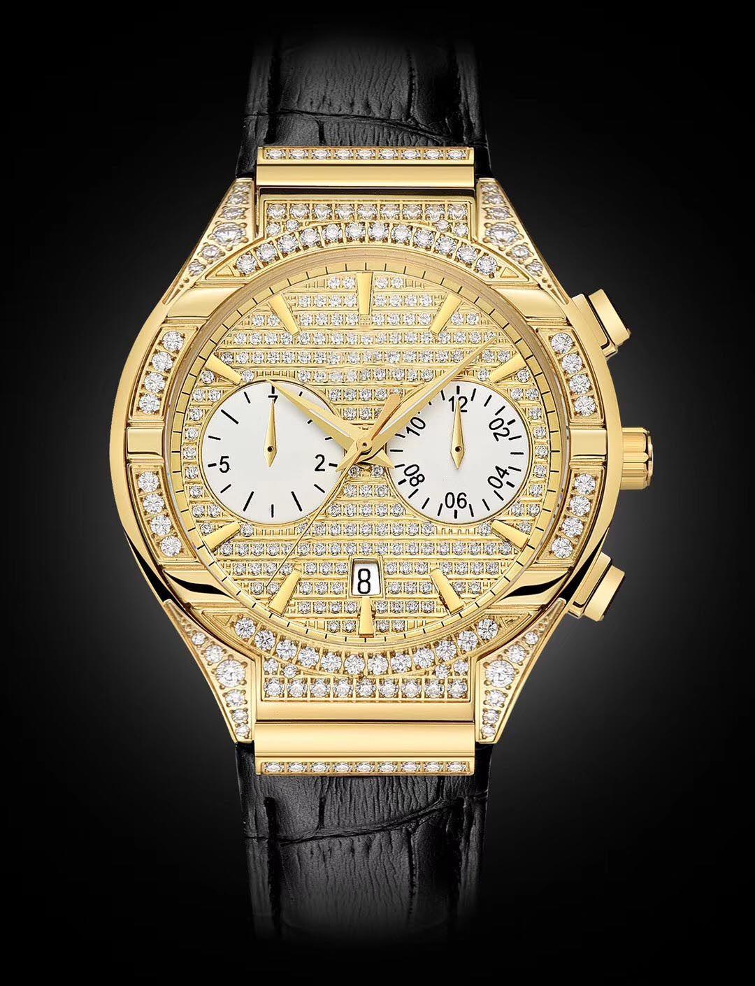 Month Day Man Watch Gold+Diamond 43mm Luxury Real Leather Black Strap Sapphire glass 9100 Automatic Man's WristWatch Waterproof 50mter