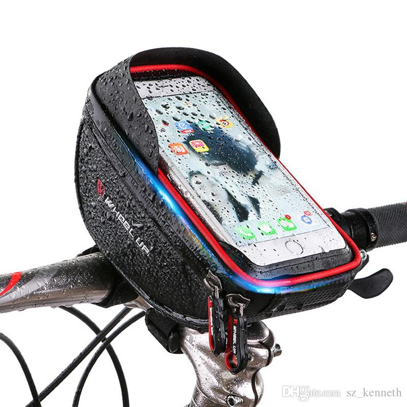 Bike phone mount bag, Wallfire Bicycle Frame Bike Handlebar Bags with Waterproof Touch Screen Phone Case Cellphone Below 6.0 Inch Rain Cover