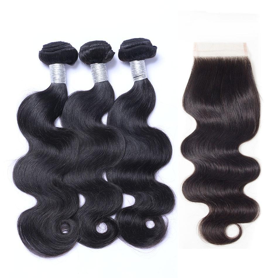 8а класс кружева закрытия с 3 пучки бразильский перуанский Индийский малайзийский камбоджийский объемная волна девственные человеческие волосы ткать норки наращивание волос