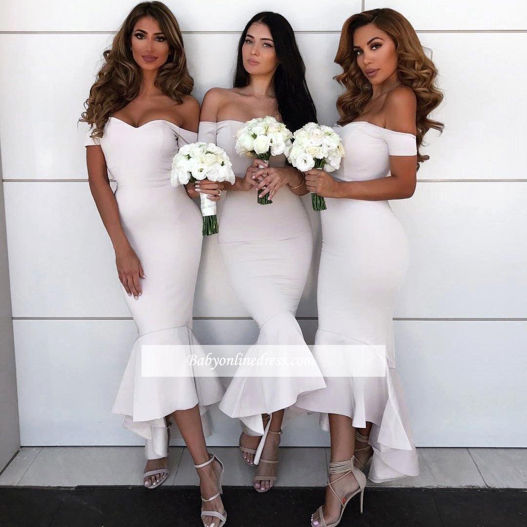 Off Shoulder Bridesmaid Dresses 2018 New Short Sleeves Satin Zipper Back Tea-Length Mermaid Wedding Party Dresses Country Style