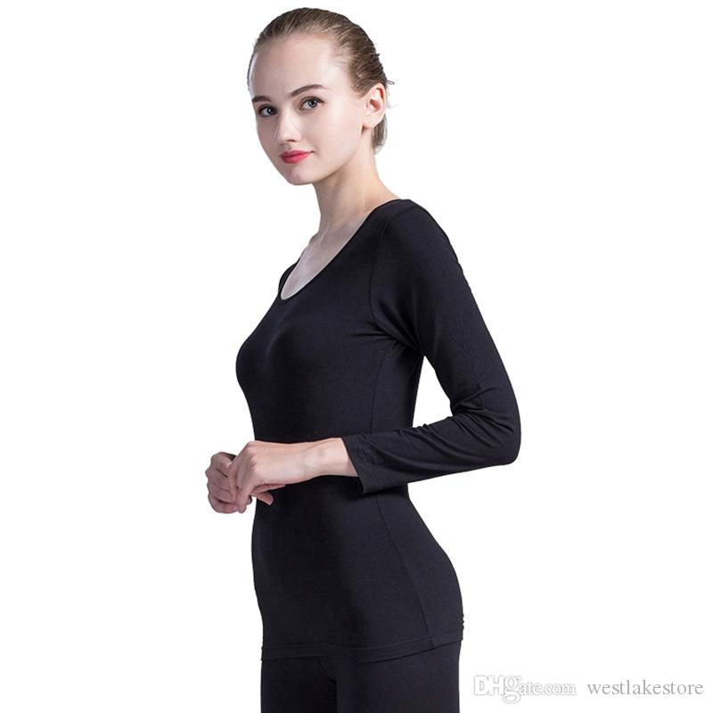 Conjuntos Long Johns para mujeres, que llegan al fondo de la túnica femenina Ropa interior térmica para el invierno, en forma de cuerpo, ropa interior térmica Femme