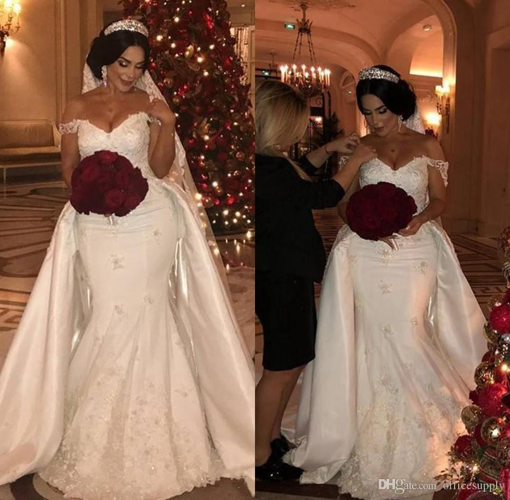 Long Off-Shoulder Beading Lace Mermaid Wedding Party for Bride
