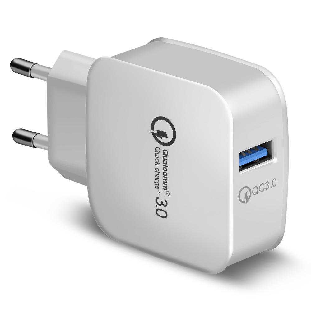 QC 3.0 Väggladdare Qualcomm USB Snabbavgift 5V 3A 9V 2A 12V 1.5A Travel Power Adapter Fast Laddning US EU-kontakt för iPhone Samsung 200PCS /