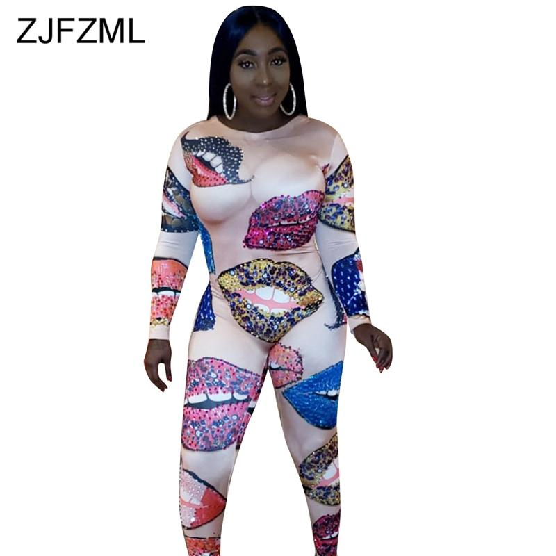 High Quality Lips Printed Sexy Bodycon Jumpsuit Women Round Neck Long Sleeve Skinny Romper Novelty Party Club One Piece Overalls