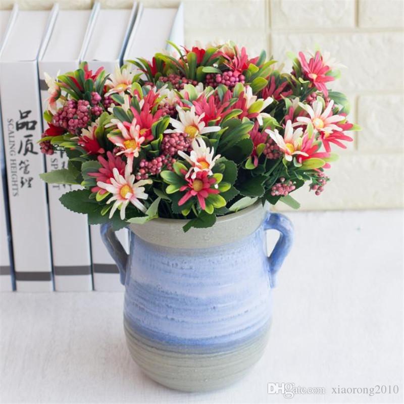 European Fake Chrysanthemum (6 heads/piece) Simulation Chrysanthemums with Foam Fruit for Wedding Home Decorative Artificial Flowers