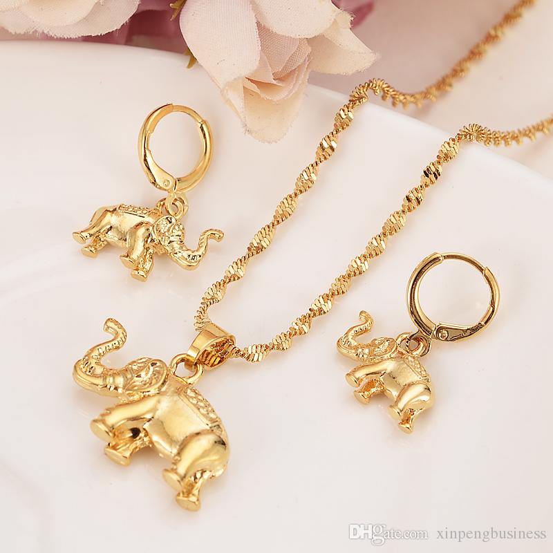 24k Yeloow твердых тонкой золотой заполнены милый слон ожерелье серьги модные ювелирные изделия Шарм кулон цепи животных повезло ювелирные наборы