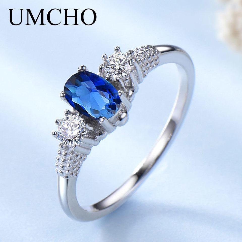 UMCHO Solid 925 gioielli in argento sterling creato blu zaffiro anelli eleganti anelli di fidanzamento per le donne regalo di nozze gioielleria raffinata Y18102610
