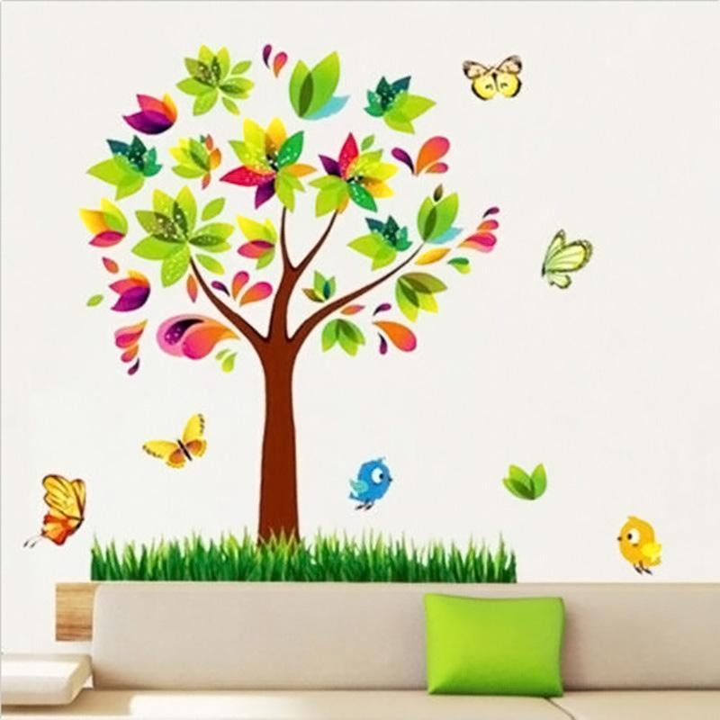Ev Dekorasyonu DIY Ağacı Kelebek PVC Duvar Çıkartmaları Yapıştırıcı Aile Duvar Çıkartmaları Sanat Ev Dekor Kız Çocuk Kreş Odası 2016 J