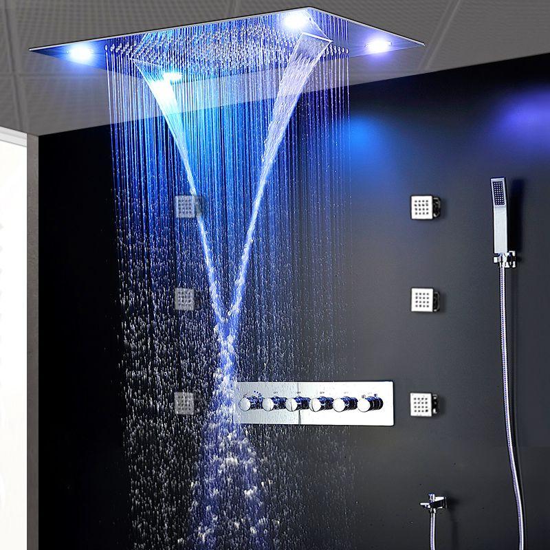 원격 제어는 밝은 색상의 304 스테인레스 스틸 연마 샤워 헤드 세트 높은 흐름 황동 샤워 수도꼭지 비 세트 주도 샤워를 LED
