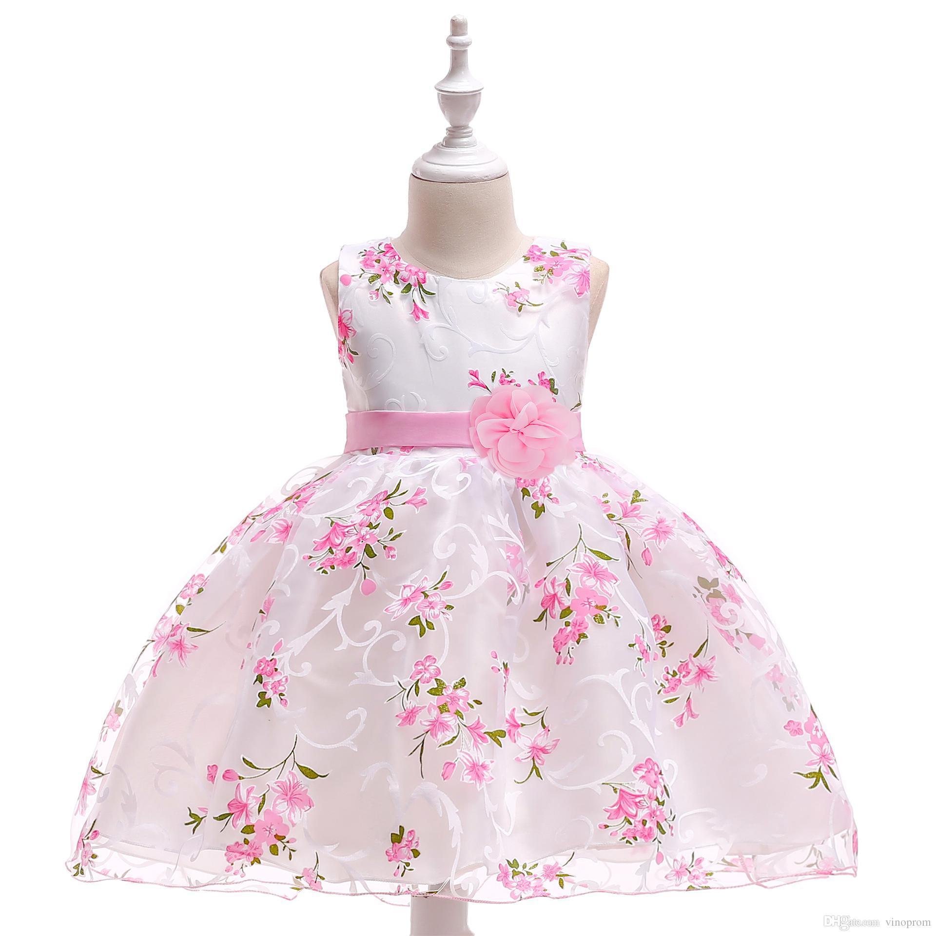 High Low Satin Blumenmädchenkleider 2018 Perlen Applizierte Kleider Für Mädchen Kinder Abendkleider vestido daminha