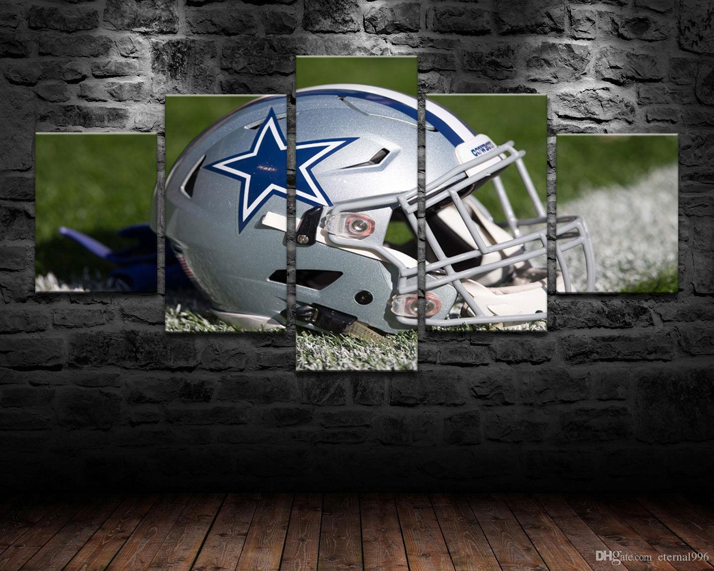 HD Print Oil Painting Decor Art on Canvas Dallas Cowboys Helmet 5PCS Unframed