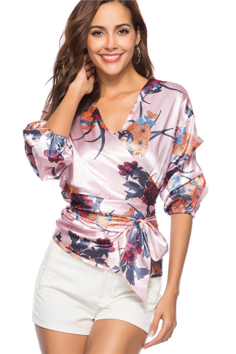 Bucrsatn 2019 Darmowa Wysyłka Lato Nowy Sexy Digital Print V-Neck Koszula Koszula Kobiet Odzież damska