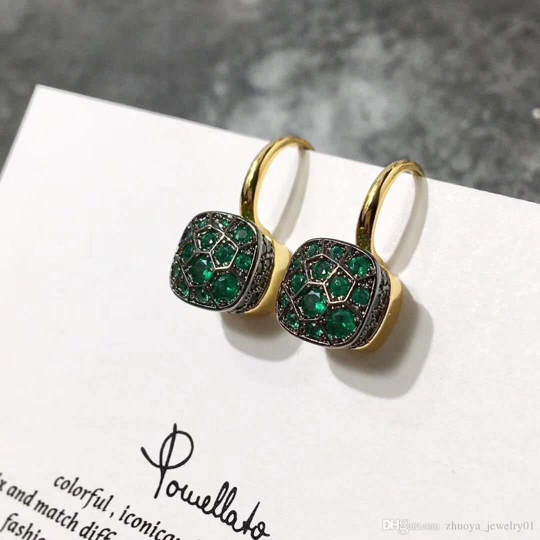2020 fashion jewelry micro-inlaid zircon earrings Honeycomb color diamond ear hook female earrings diamond earrings des boucles d'oreilles