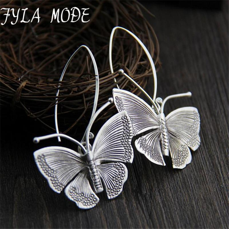 2018 New Hot Fashion Fine Excellent Jewelry Thai Silver Butterfly Old Silver Color Brincos Drop Earrings For Women Ladies Gift S18101206