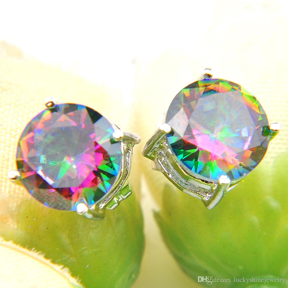 10 Prs Luckyshine Clásico Florid Fire Round Rainbow Mystic Topaz Cubic Zirconia Piedras preciosas Pendientes de plata para la fiesta de bodas