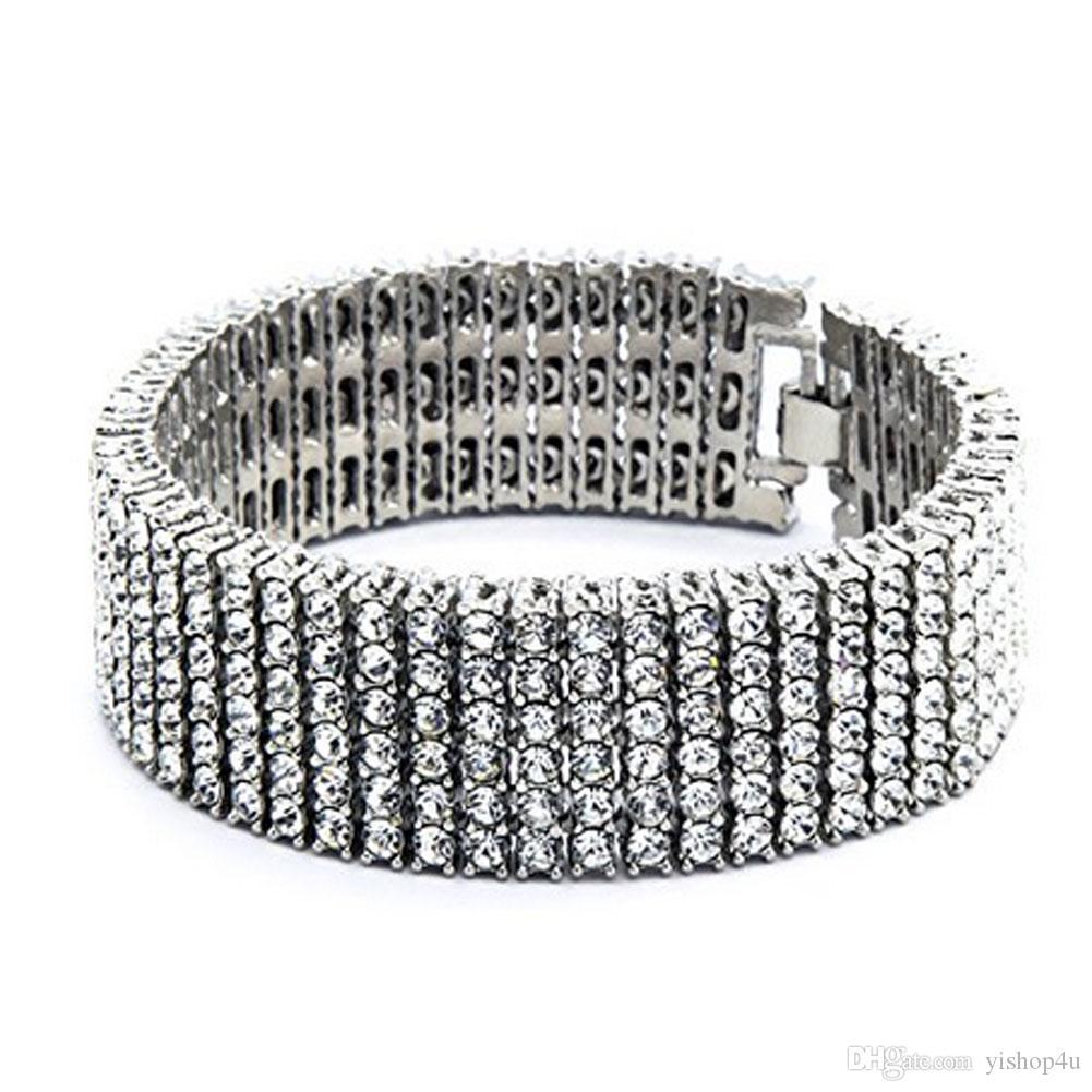 "Men Hip Hop 6 Row Gold Silver Tone CZ Iced Out Bling Bling Tenns Bracelet 8""inch 25mm Simulate Dimonds Bangles Braceles"