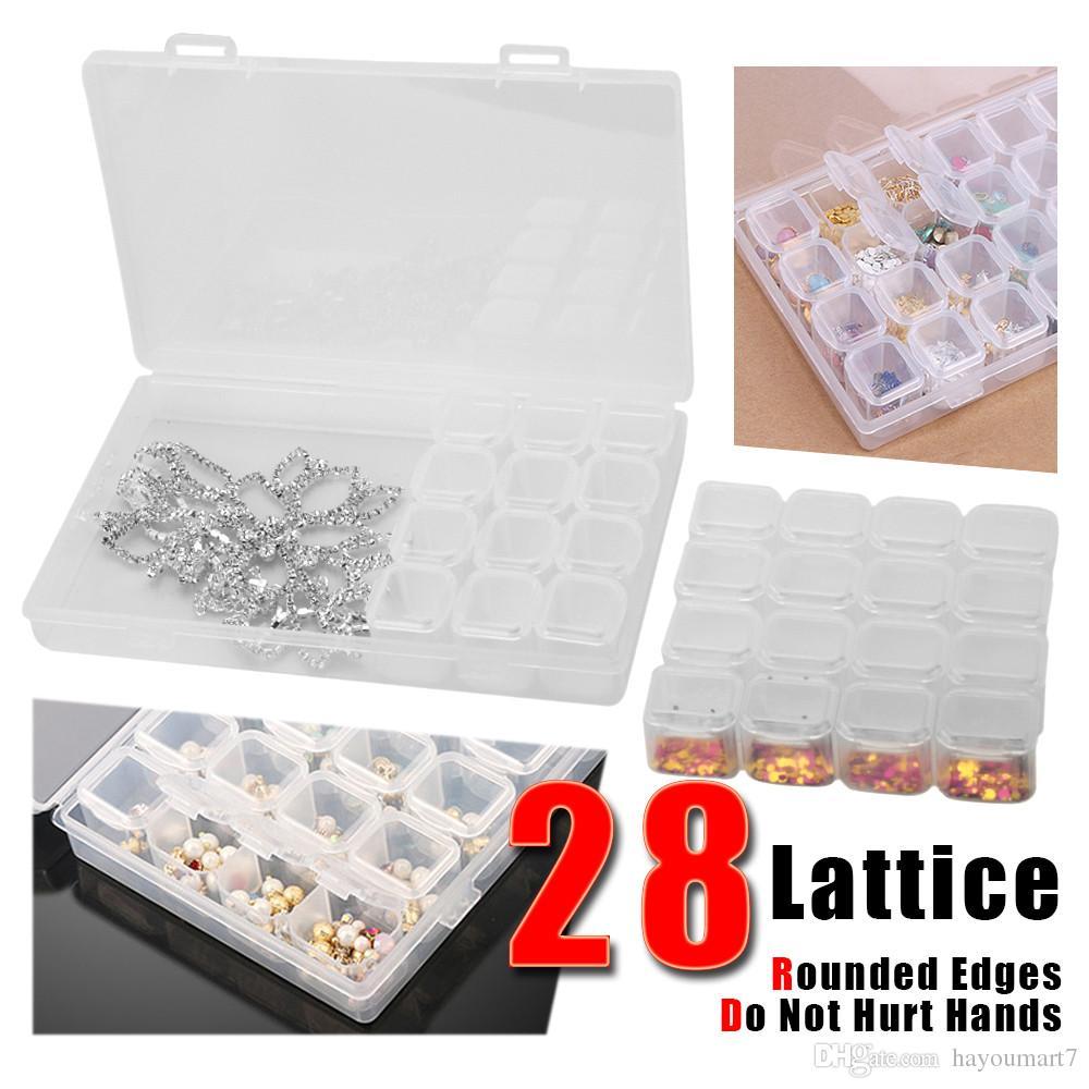 28 Nail Art Multi-função Caixa De Armazenamento Translúcido Nail Art Grids Compartimento Prego Plástico Organizador Equipamentos Conveniente Ferramenta Dividida Broca