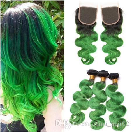 페루 옹 브르 녹색 인간의 머리카락이 클로저 바디 웨이브로 장식 됨 다크 루트 # 1B / 그린 버진 헤어 위드 3Bundles, 레이스 탑 클로저 4x4